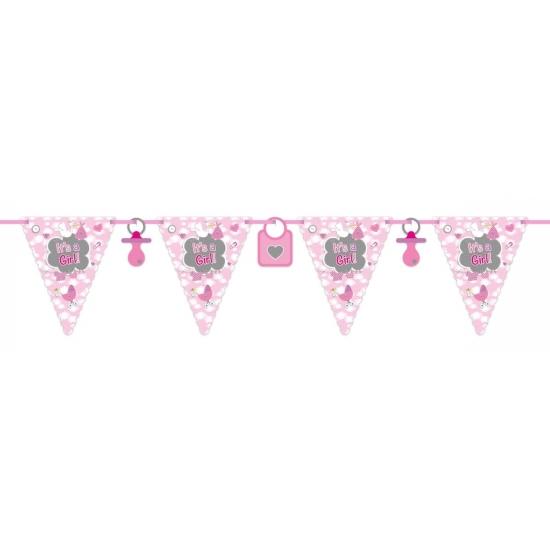 2x Roze geboorte vlaggenlijn 6 meter