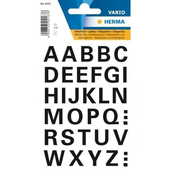 32x A t/m Z letter stickers zwart 15 mm