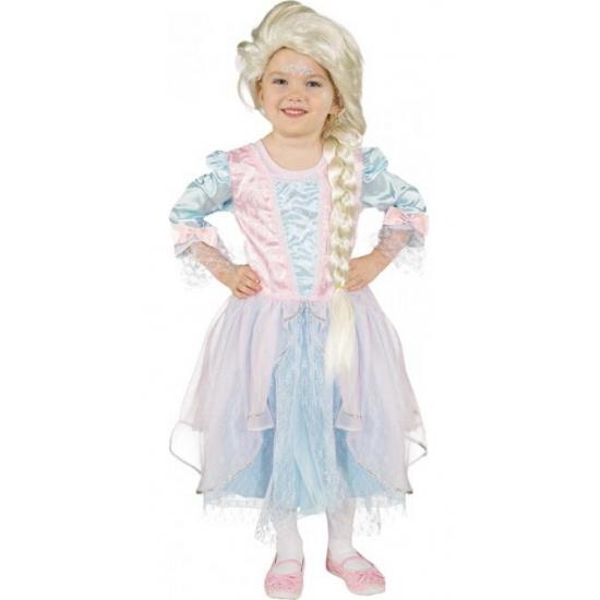 Carnaval outfit lichtblauw met roze prinses jurk