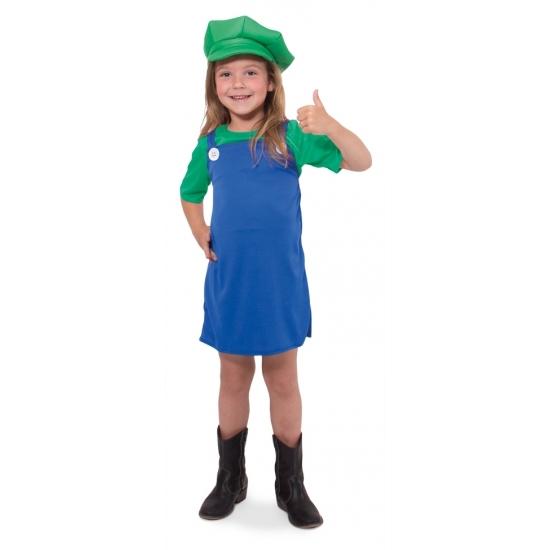 Cartoon groene loodgieter verkleedoutfit voor meisjes