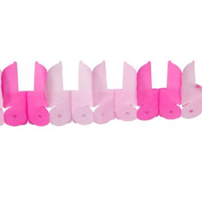 Geboorte slinger met roze wiegjes
