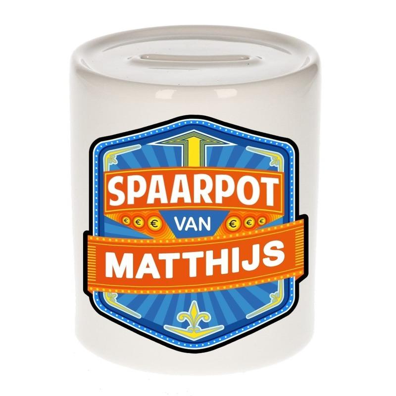Kinder cadeau spaarpot voor een Matthijs