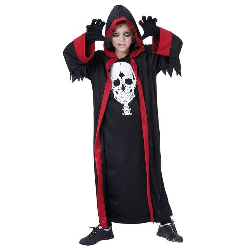 Kinder dracula kostuum zwart met rood