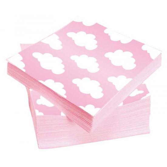 Kraamfeest servetten roze met witte wolken