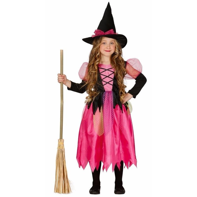 Meisjes heksenkleding roze jurkje