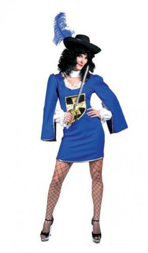 Musketiers jurkje blauw en zilver