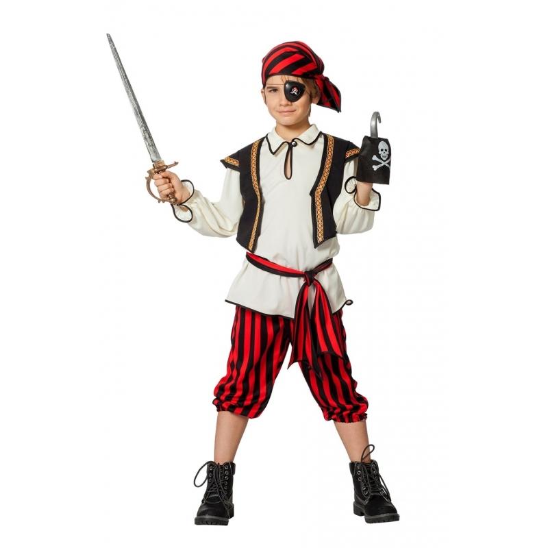 Piraten outfit rood/zwart voor jongens