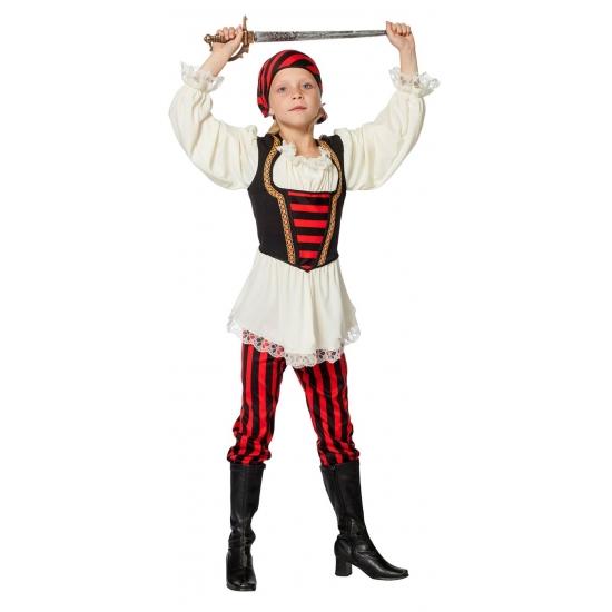 Piraten outfit rood/zwart voor meisjes