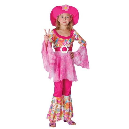 Roze hippie verkleedkleding voor meisjes