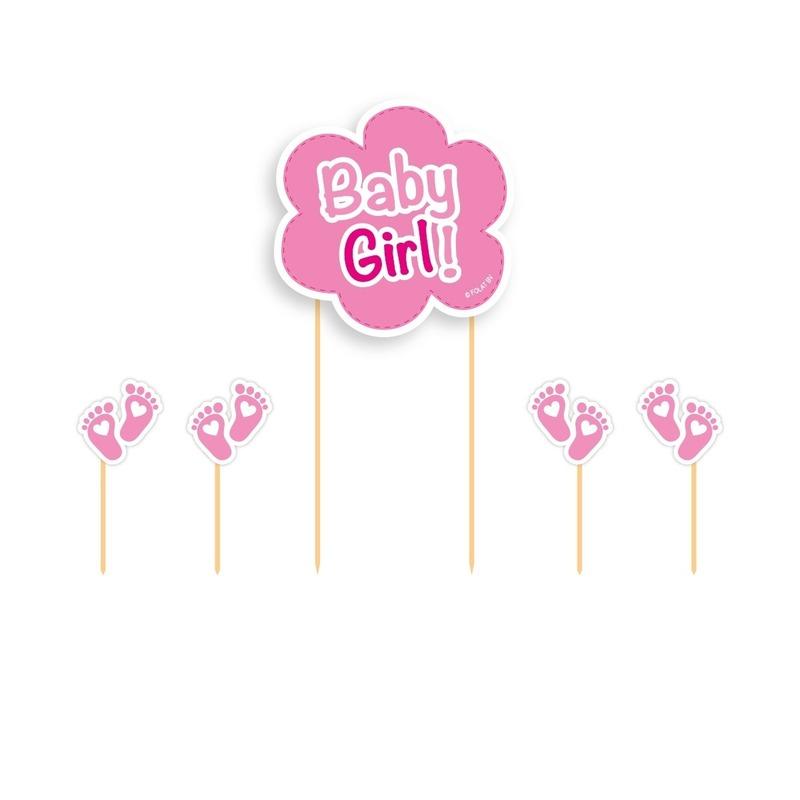 Taart topper Baby Girl roze