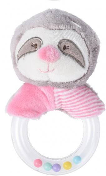 Tender Toys rammelaar luiaard roze junior 17 x 12 x 7 cm