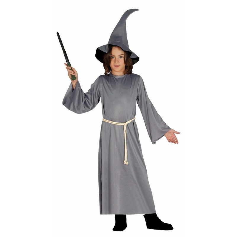 Tovenaar mantel grijs met hoed voor jongens