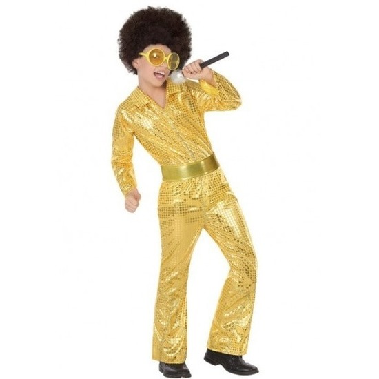 Voordelige goud glitter pak met pailletten voor jongens