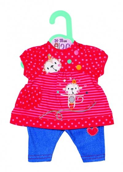 Dolly Moda kledingset 36 cm rood/blauw