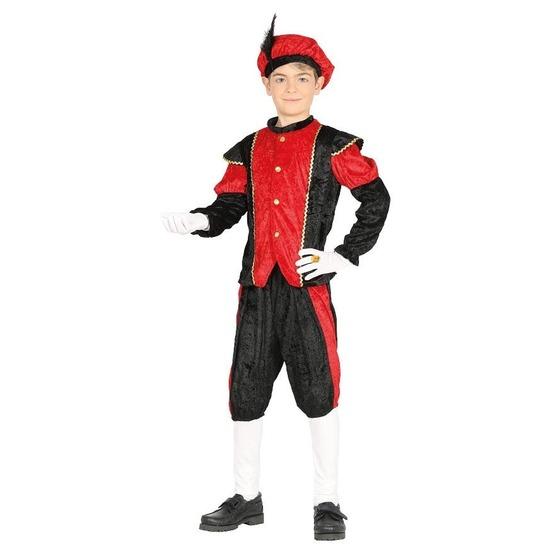 Pieten verkleed kostuum zwart/rood voor jongens/meisjes