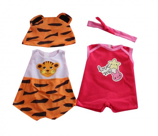 Falca kledingsetjes voor poppen van 38 tot 40 cm tijger/rood