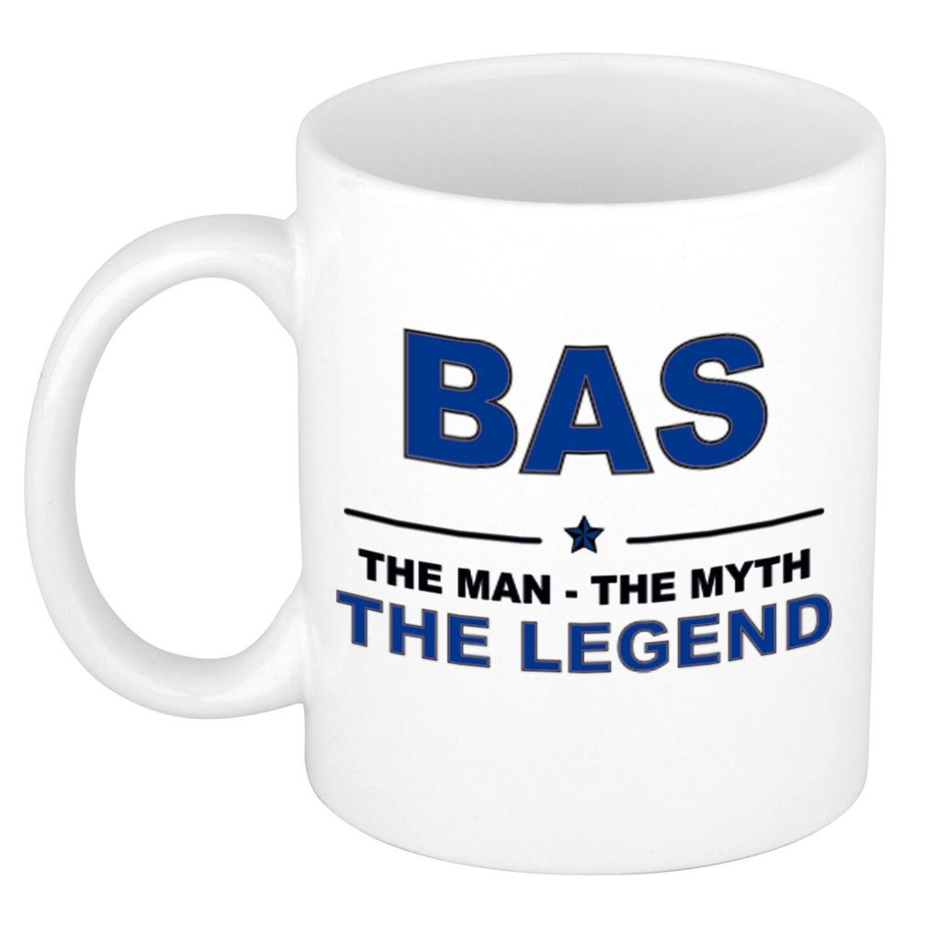 Bas The man, The myth the legend pensioen cadeau mok/beker 300 ml