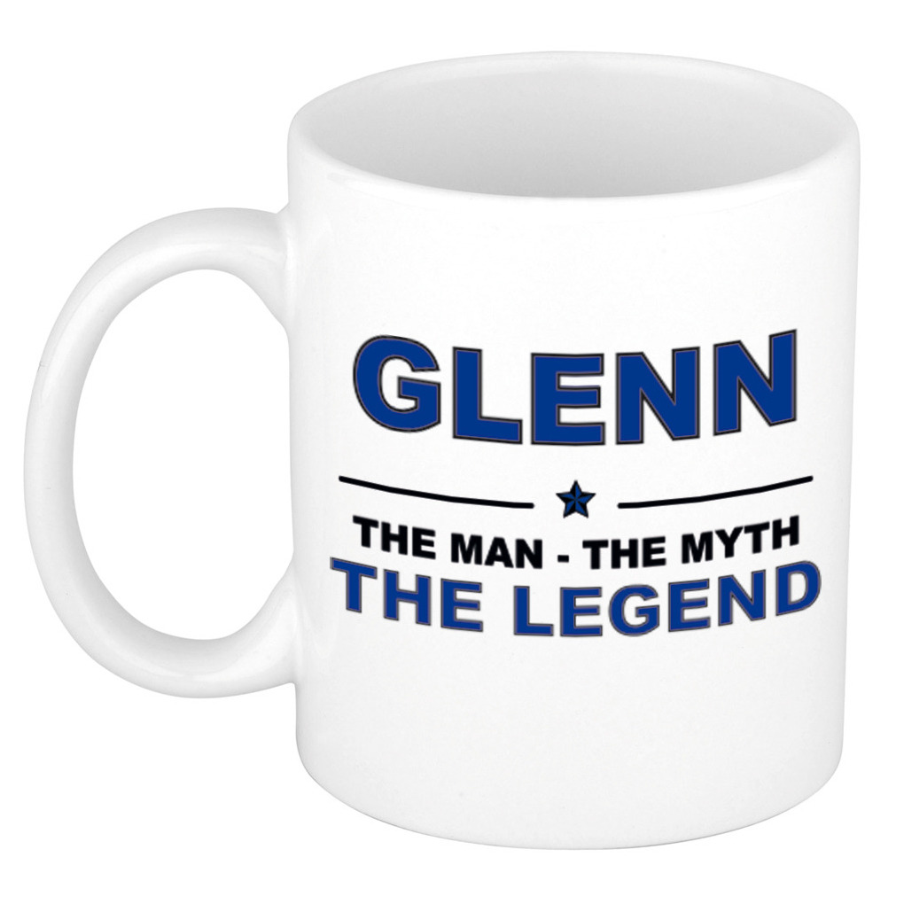 Glenn The man, The myth the legend pensioen cadeau mok/beker 300 ml