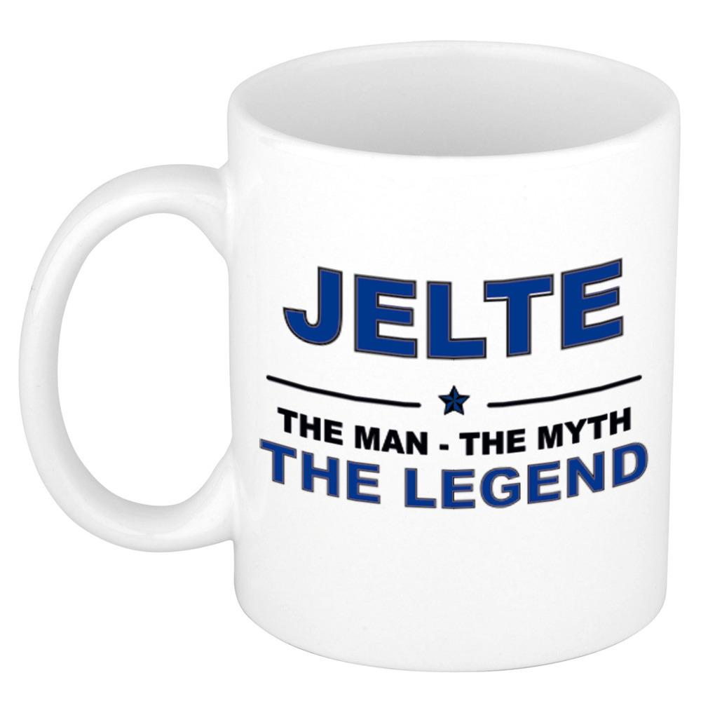 Jelte The man, The myth the legend pensioen cadeau mok/beker 300 ml