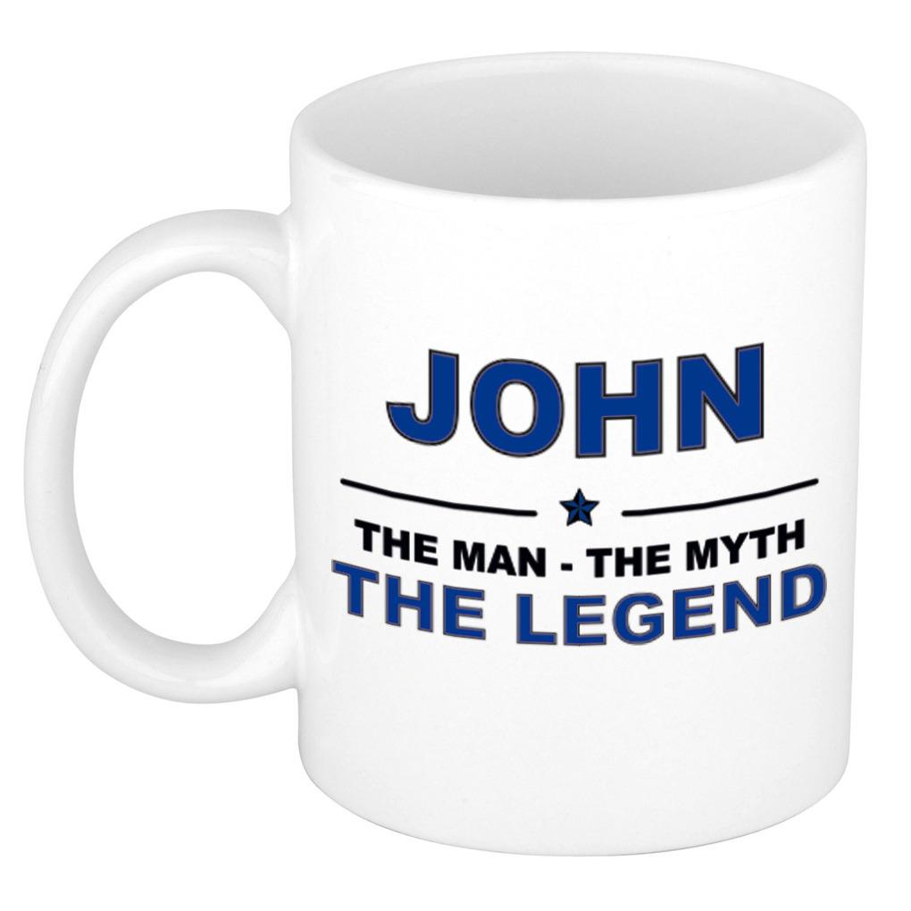 John The man, The myth the legend pensioen cadeau mok/beker 300 ml