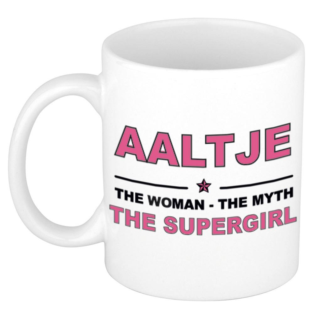 Aaltje The woman, The myth the supergirl pensioen cadeau mok/beker 300 ml