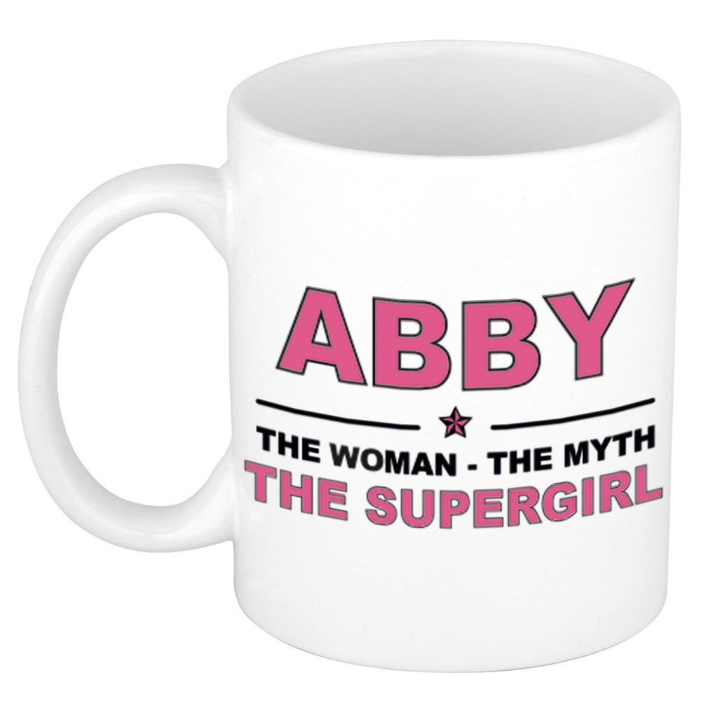 Abby The woman, The myth the supergirl pensioen cadeau mok/beker 300 ml