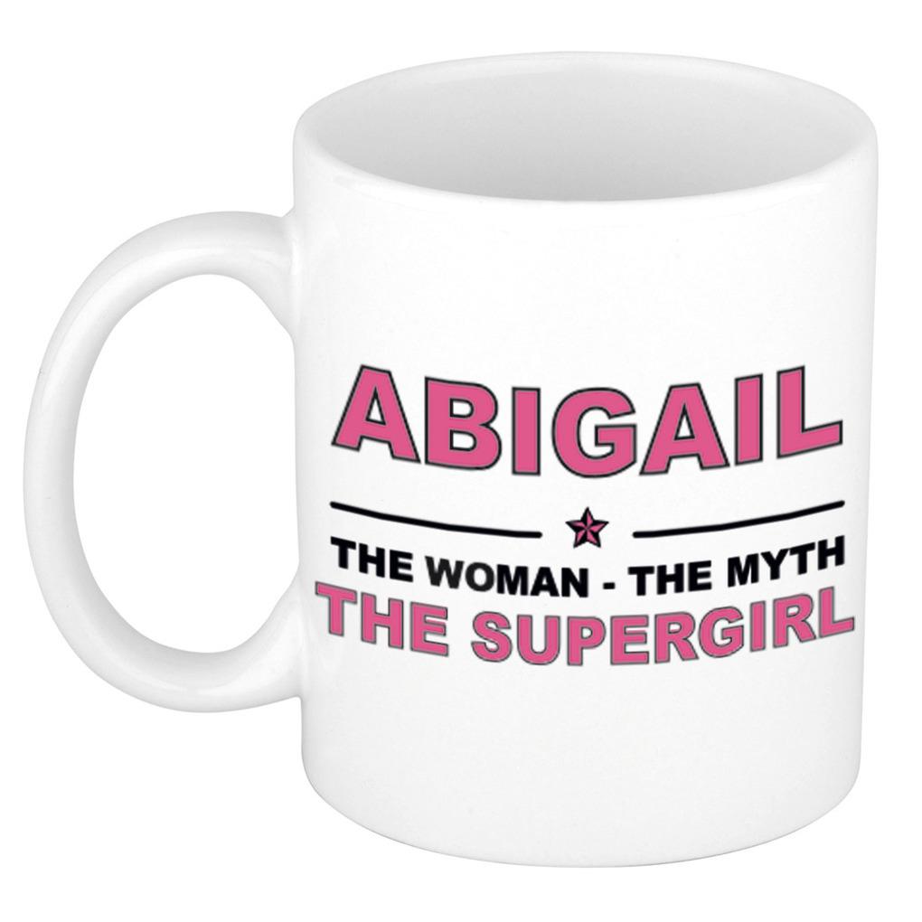 Abigail The woman, The myth the supergirl pensioen cadeau mok/beker 300 ml