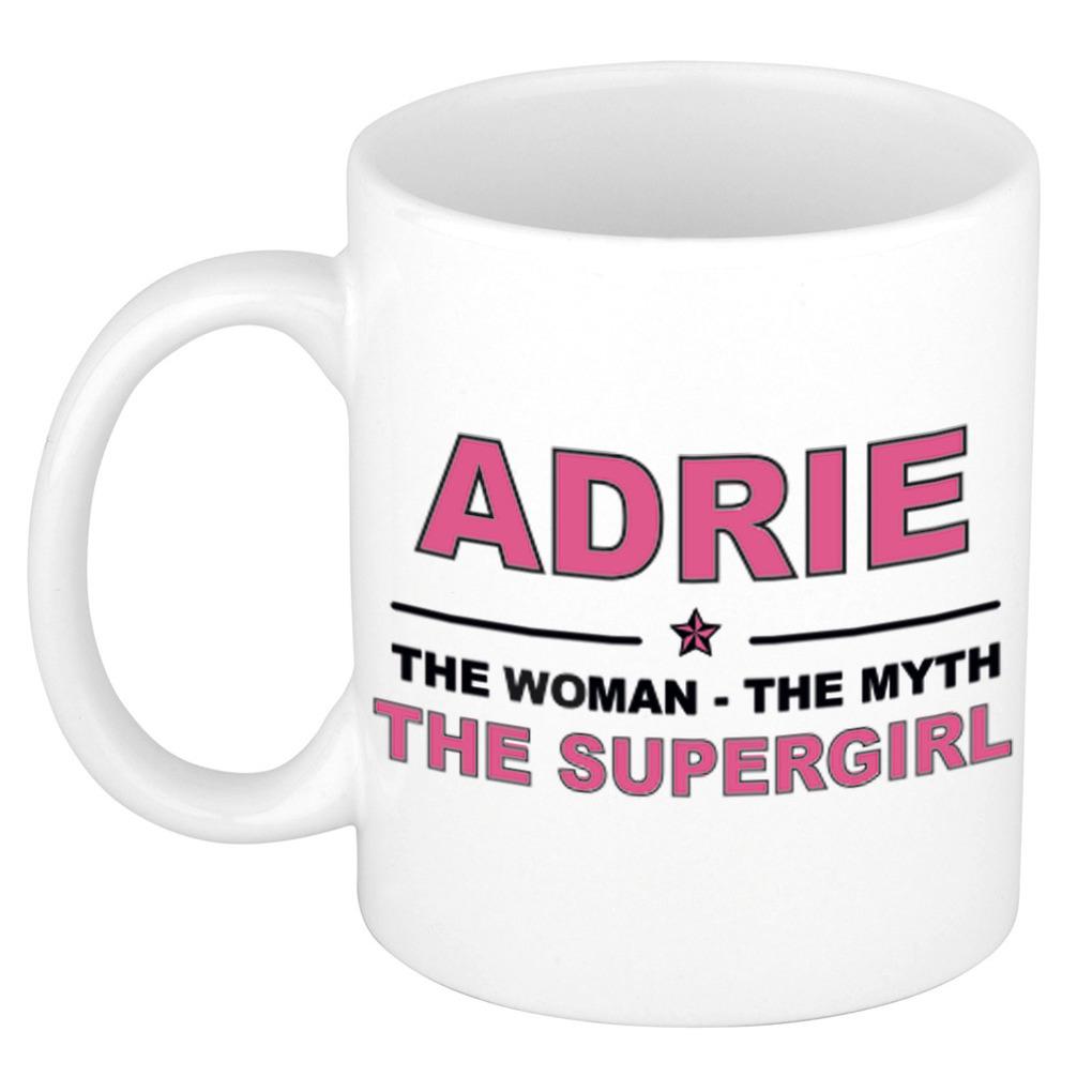 Adrie The woman, The myth the supergirl pensioen cadeau mok/beker 300 ml