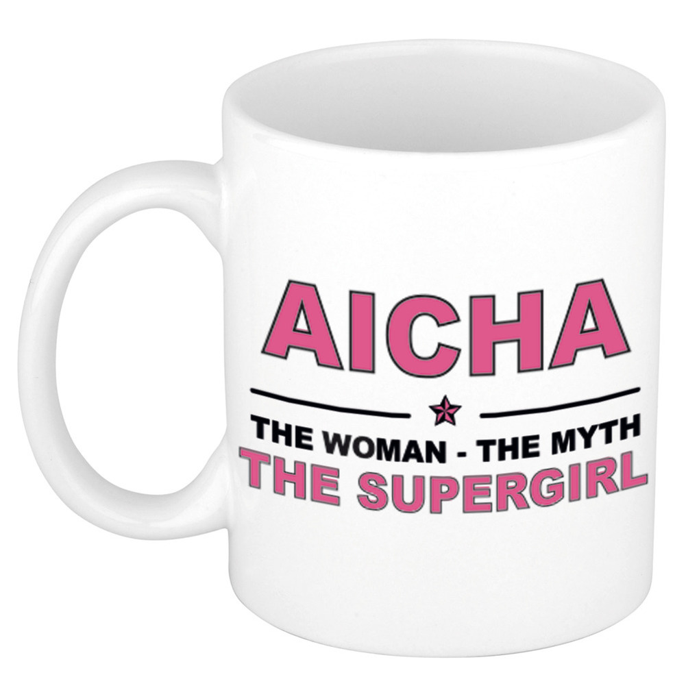 Aicha The woman, The myth the supergirl pensioen cadeau mok/beker 300 ml