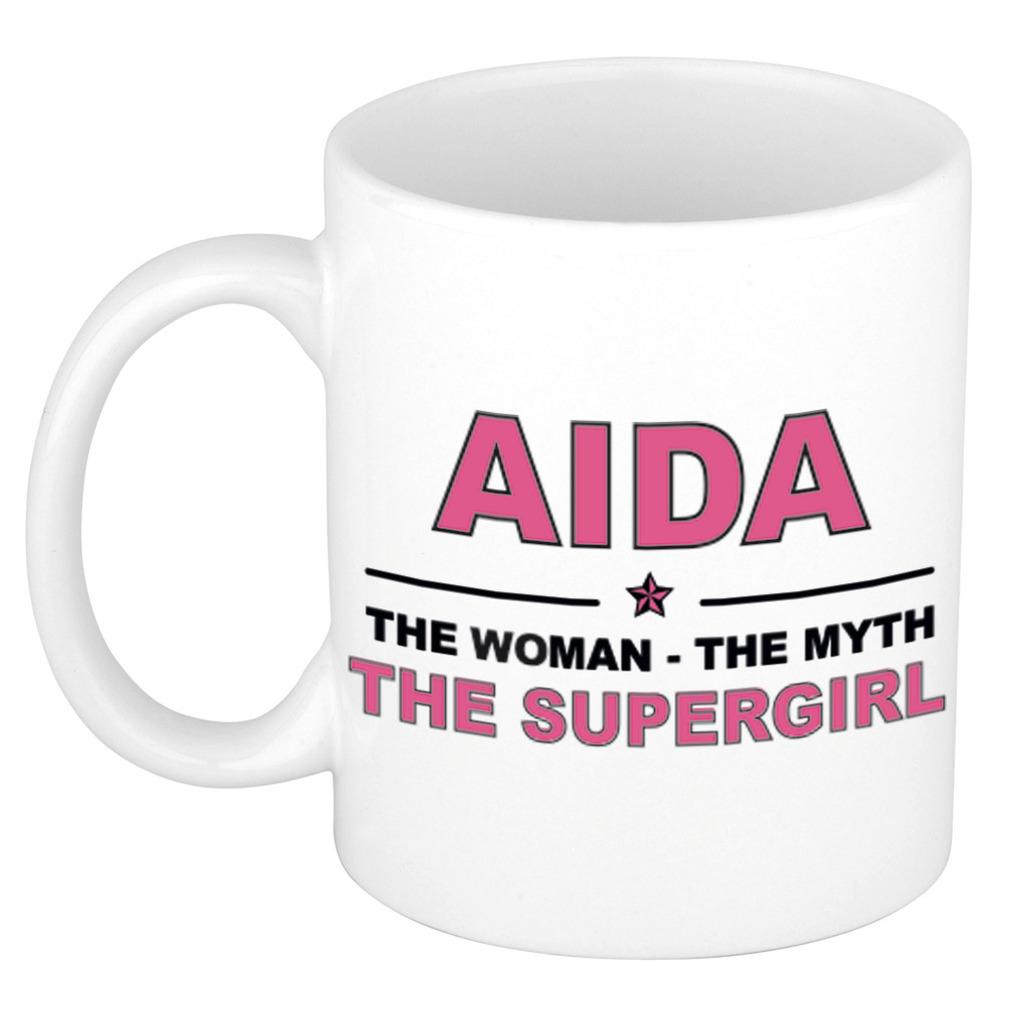 Aida The woman, The myth the supergirl pensioen cadeau mok/beker 300 ml