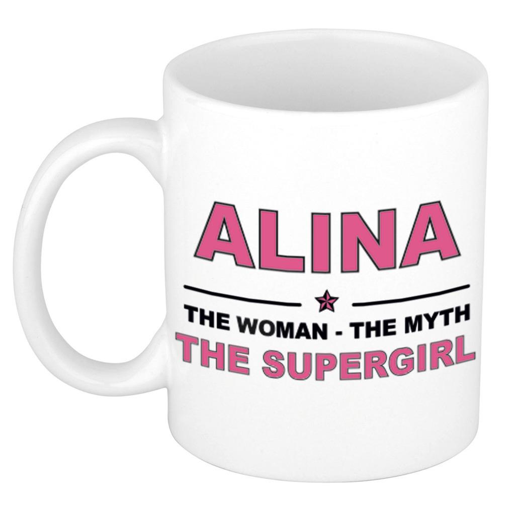 Alina The woman, The myth the supergirl pensioen cadeau mok/beker 300 ml
