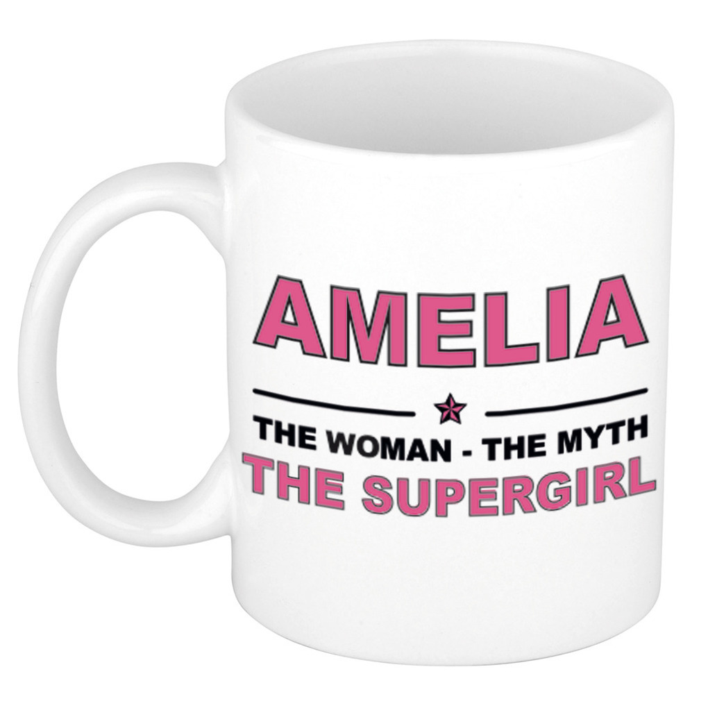 Amelia The woman, The myth the supergirl pensioen cadeau mok/beker 300 ml