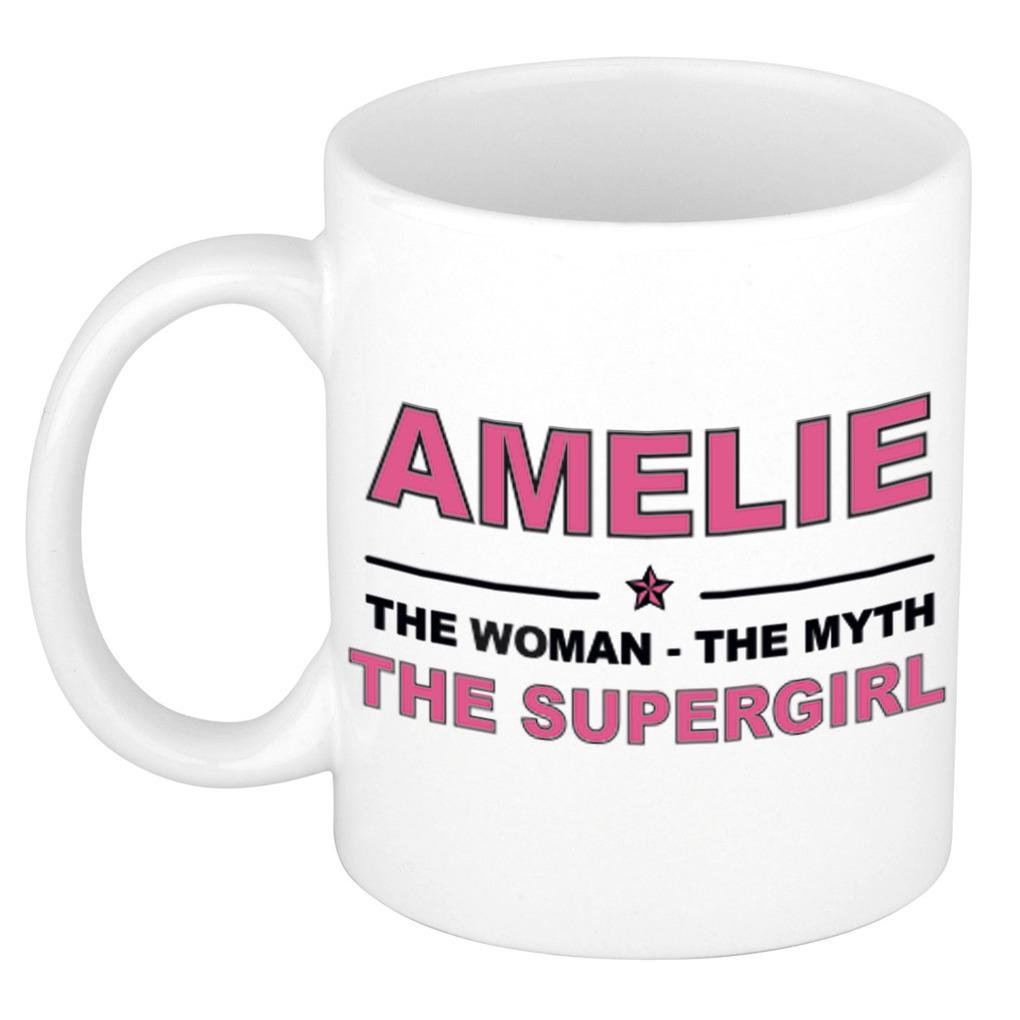 Amelie The woman, The myth the supergirl pensioen cadeau mok/beker 300 ml