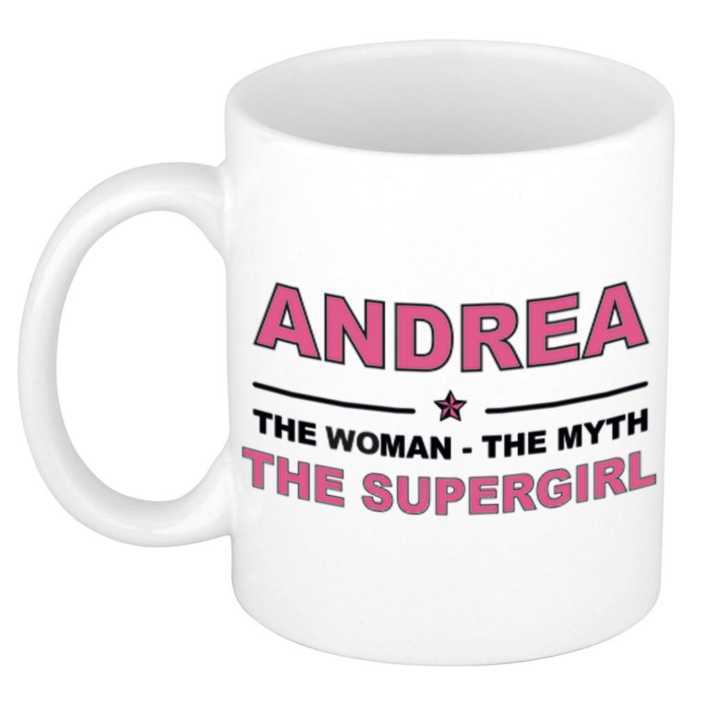 Andrea The woman, The myth the supergirl pensioen cadeau mok/beker 300 ml