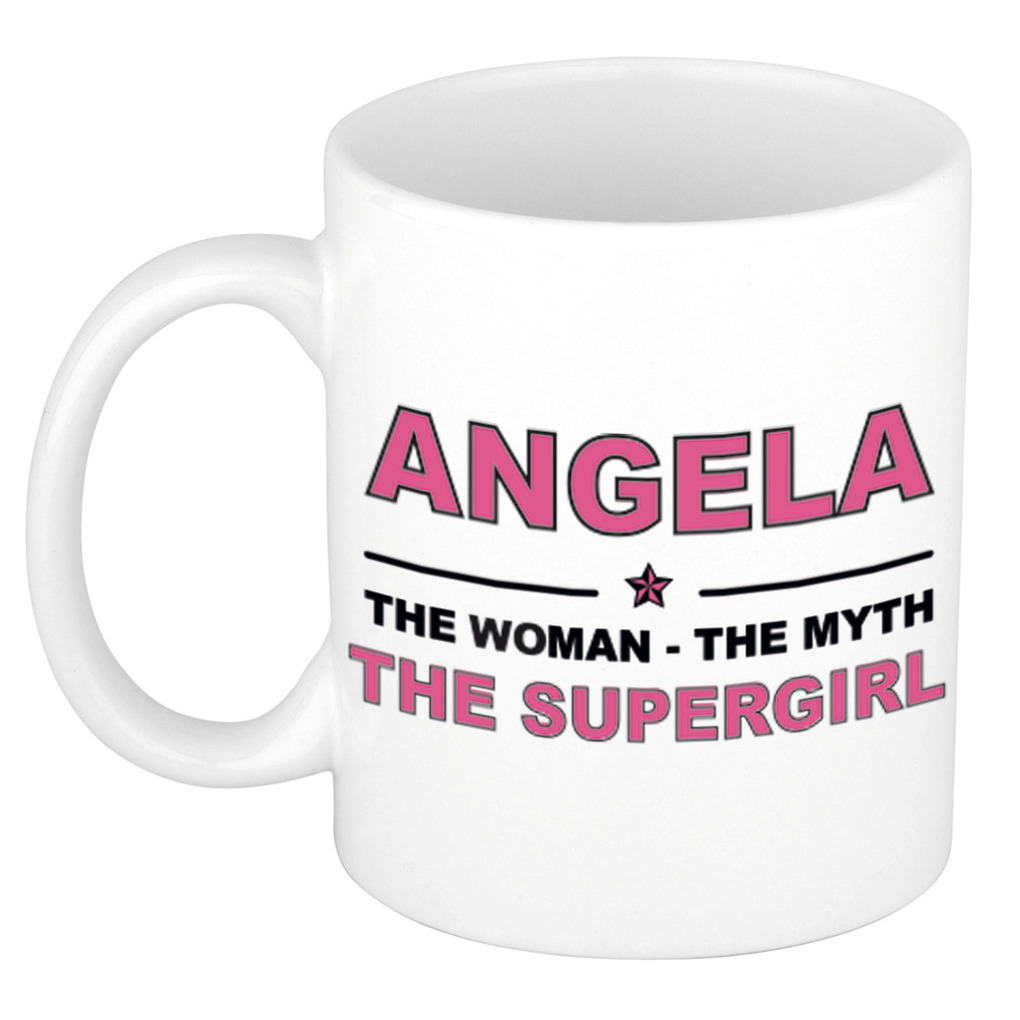 Angela The woman, The myth the supergirl pensioen cadeau mok/beker 300 ml