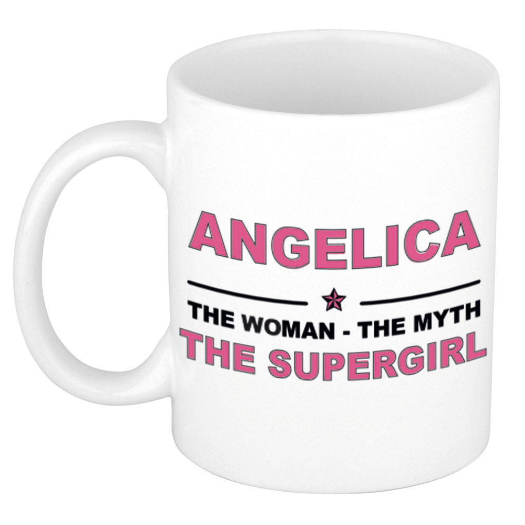 Angelica The woman, The myth the supergirl pensioen cadeau mok/beker 300 ml