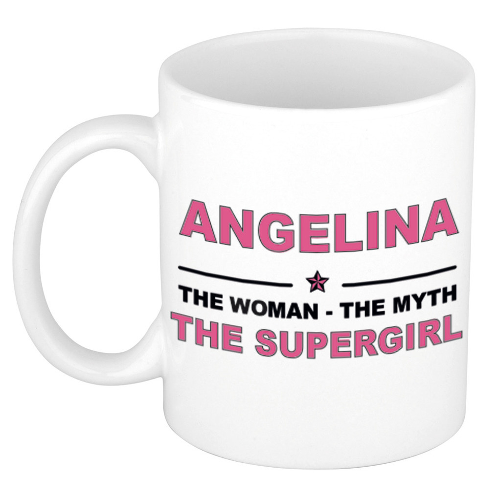Angelina The woman, The myth the supergirl pensioen cadeau mok/beker 300 ml