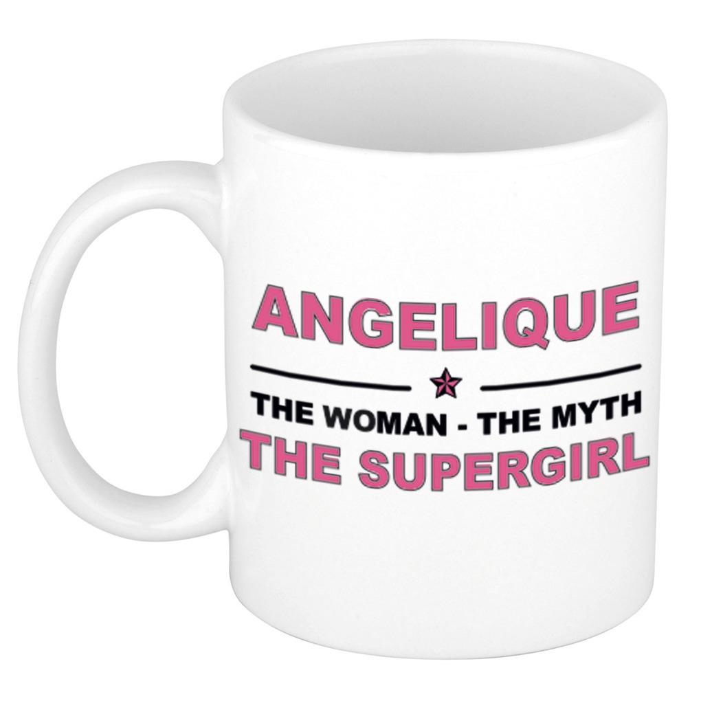Angelique The woman, The myth the supergirl pensioen cadeau mok/beker 300 ml
