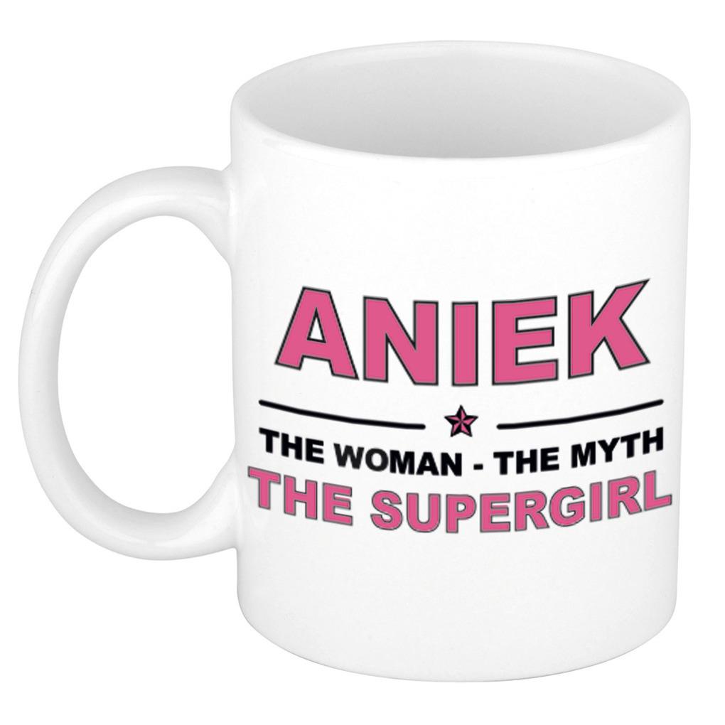 Aniek The woman, The myth the supergirl pensioen cadeau mok/beker 300 ml