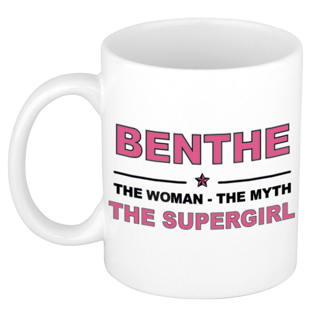 Benthe The woman, The myth the supergirl pensioen cadeau mok/beker 300 ml