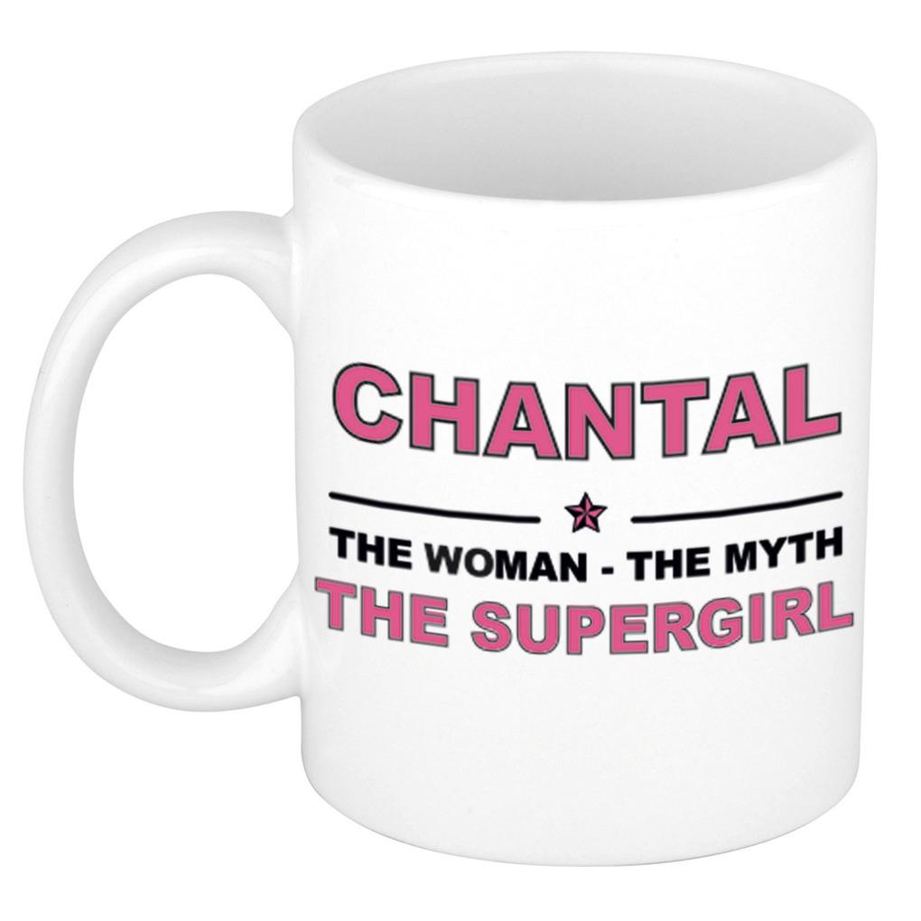 Chantal The woman, The myth the supergirl pensioen cadeau mok/beker 300 ml