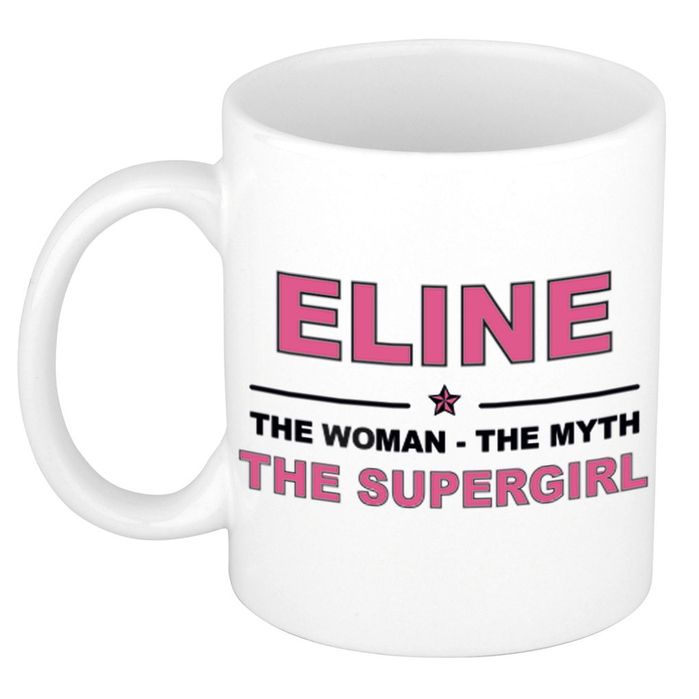 Eline The woman, The myth the supergirl pensioen cadeau mok/beker 300 ml