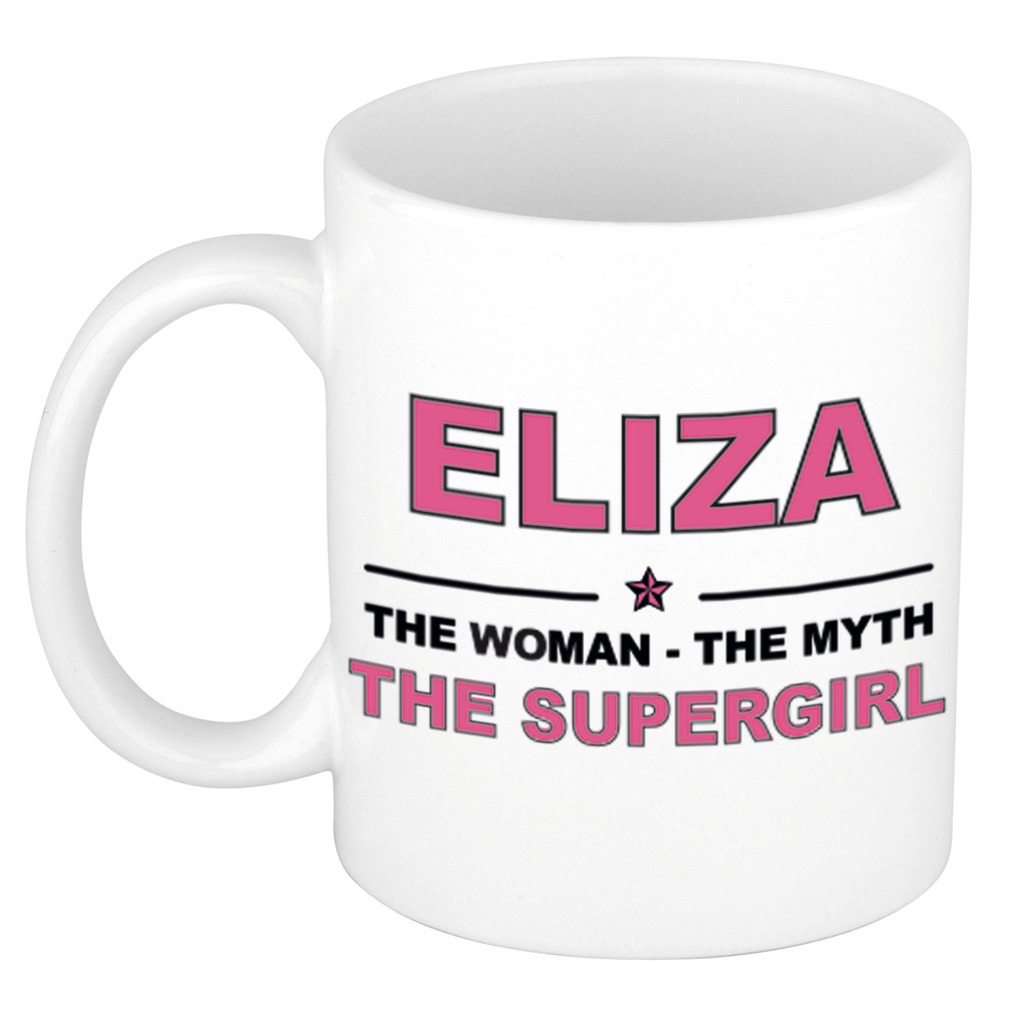 Eliza The woman, The myth the supergirl pensioen cadeau mok/beker 300 ml