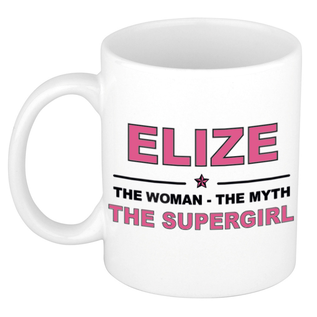 Elize The woman, The myth the supergirl pensioen cadeau mok/beker 300 ml