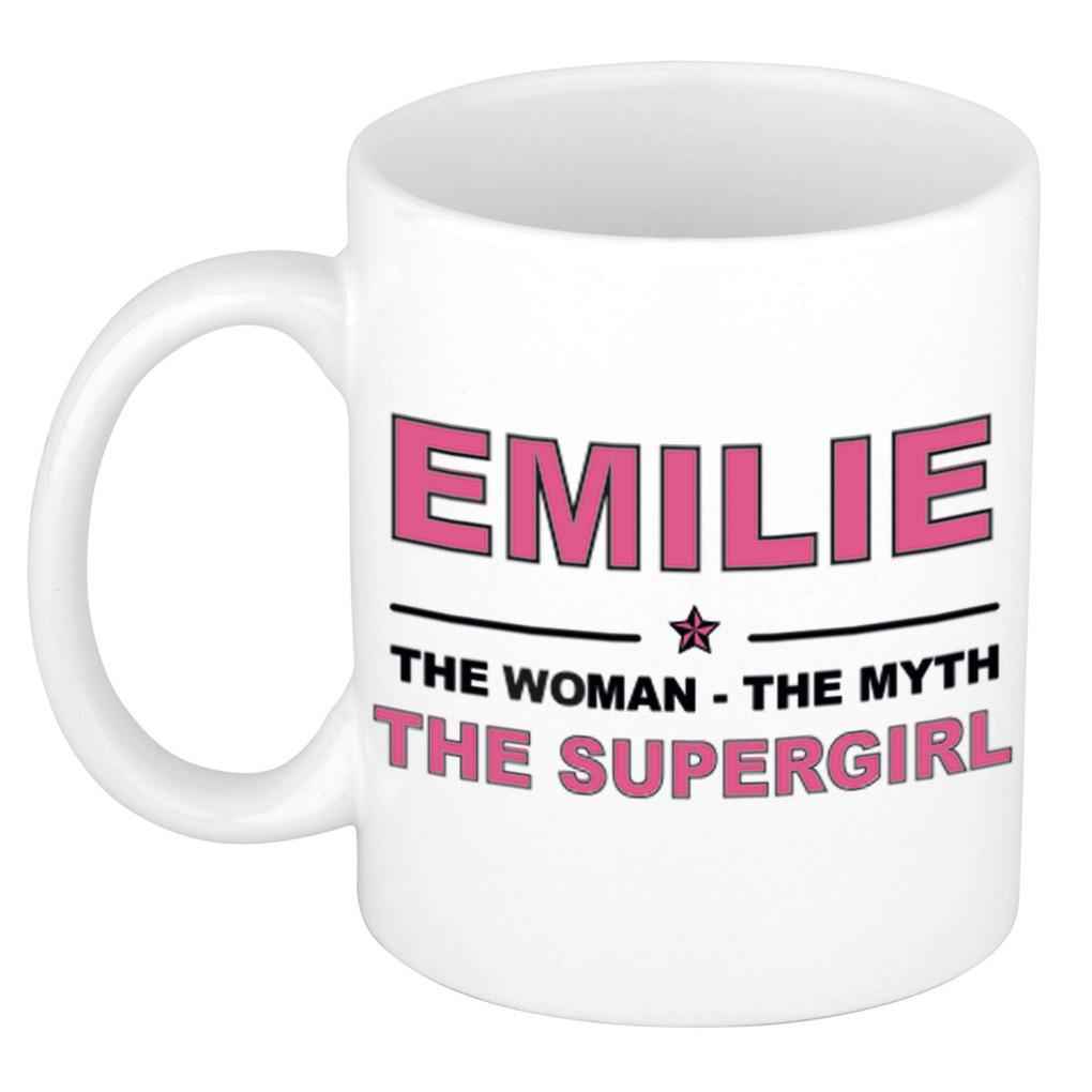 Emilie The woman, The myth the supergirl pensioen cadeau mok/beker 300 ml