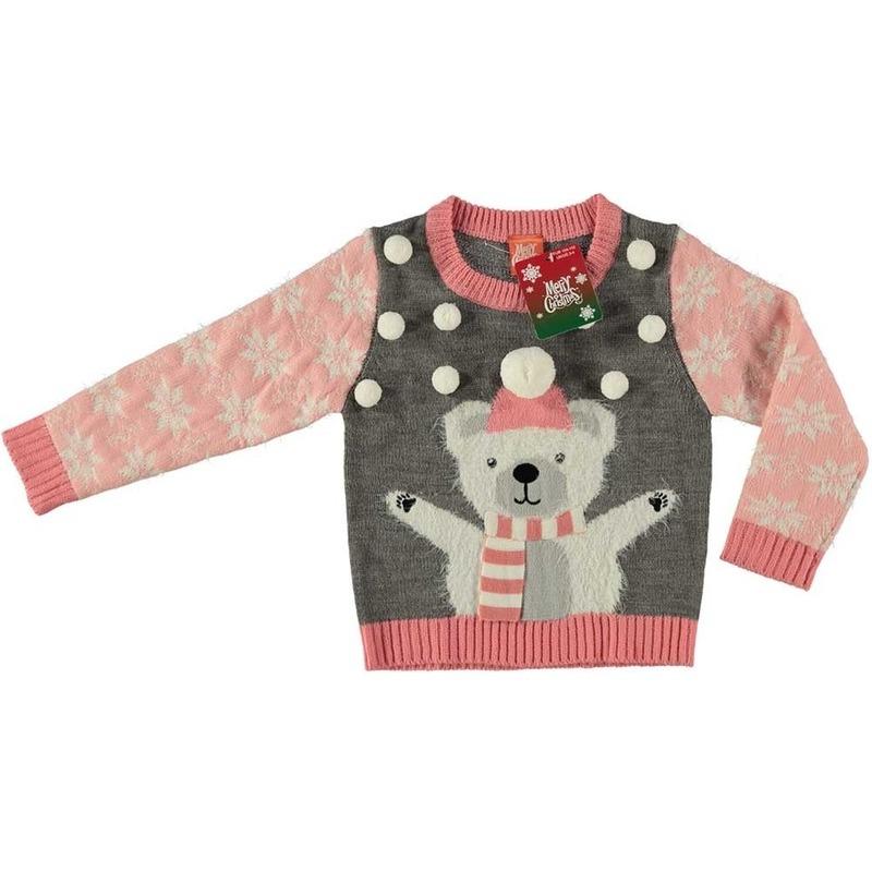 Kerst sweaters ijsbeer grijs voor meisjes maat 104/110