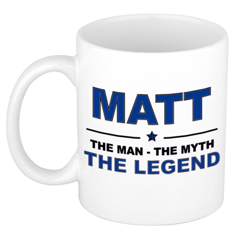 Matt The man, The myth the legend pensioen cadeau mok/beker 300 ml