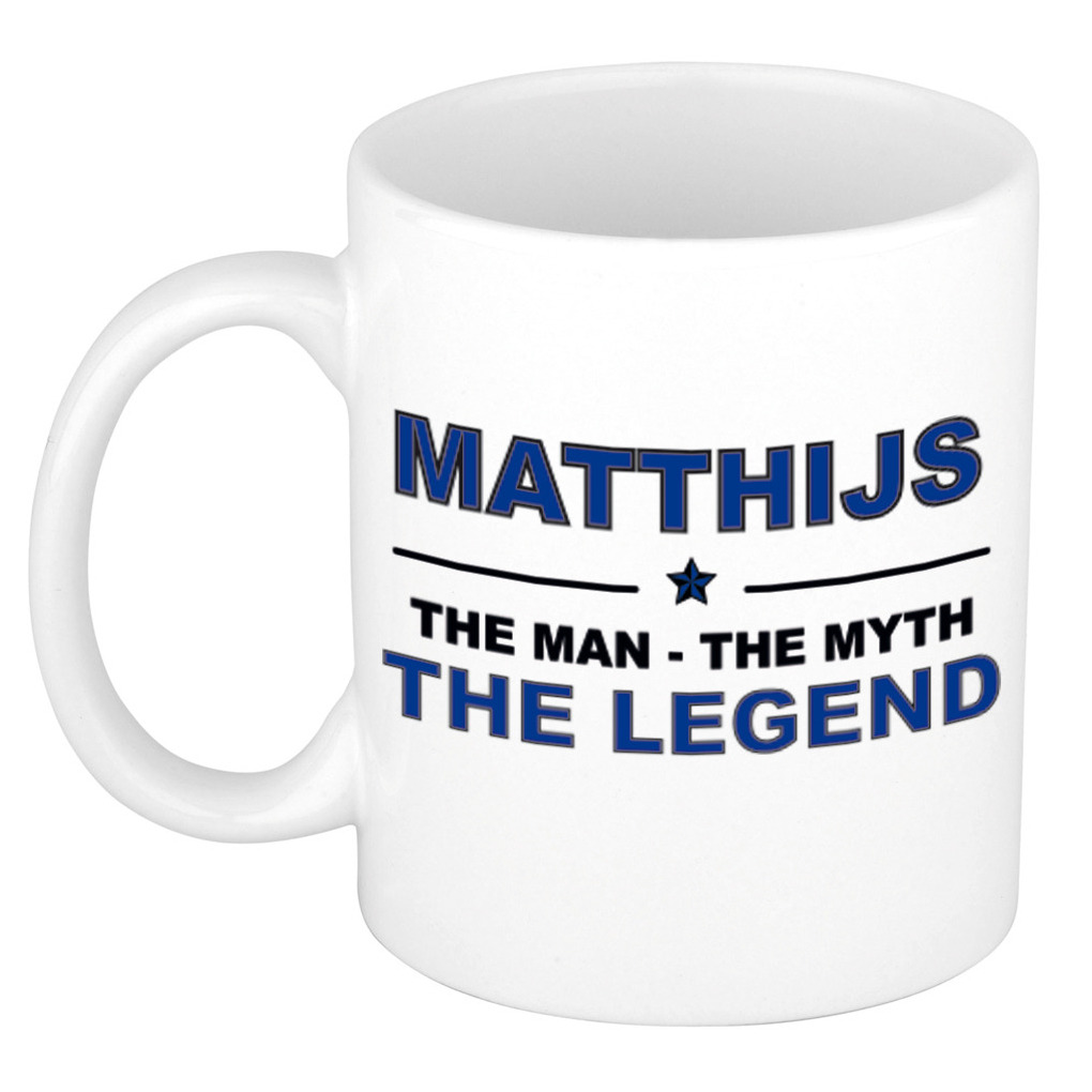 Matthijs The man, The myth the legend pensioen cadeau mok/beker 300 ml