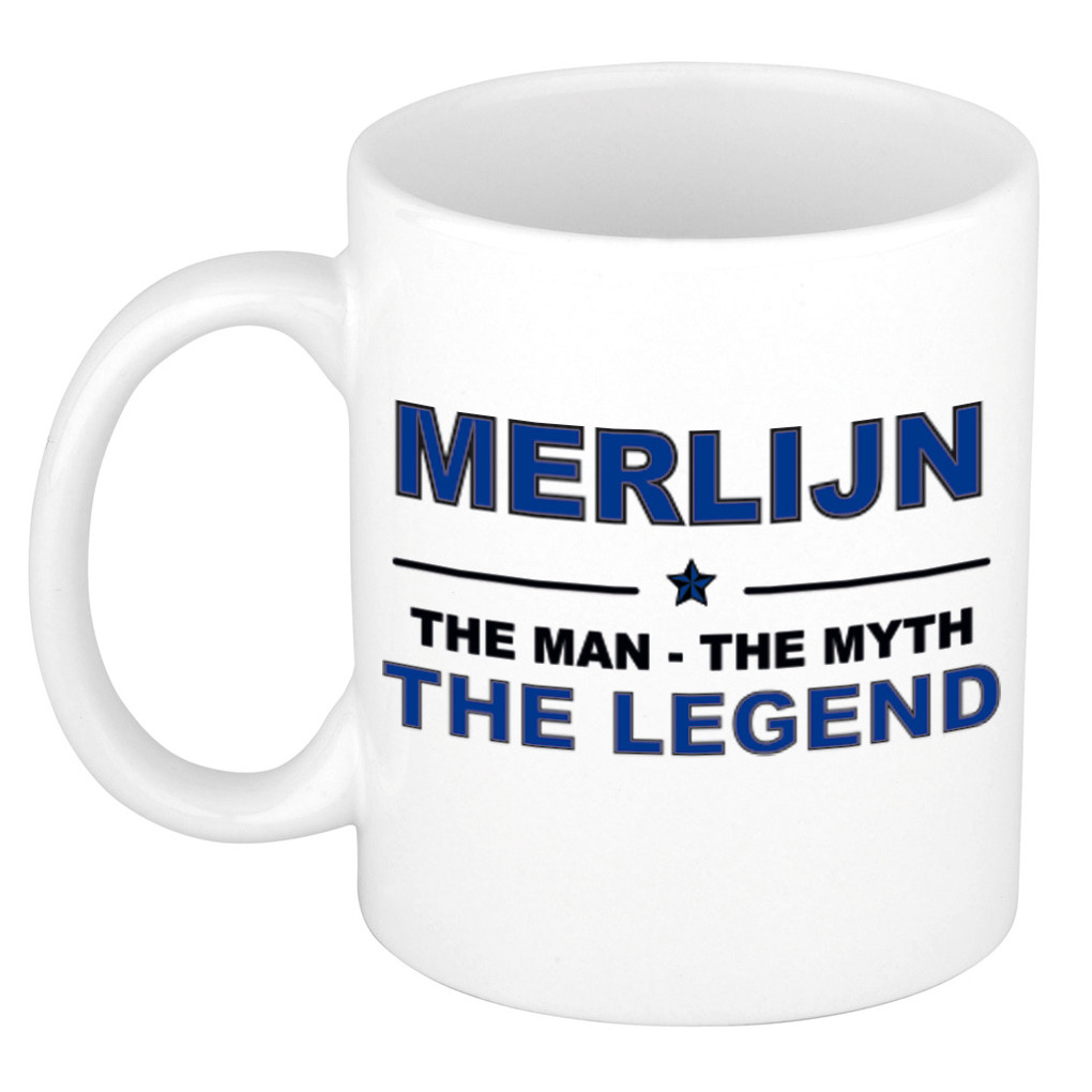 Merlijn The man, The myth the legend pensioen cadeau mok/beker 300 ml