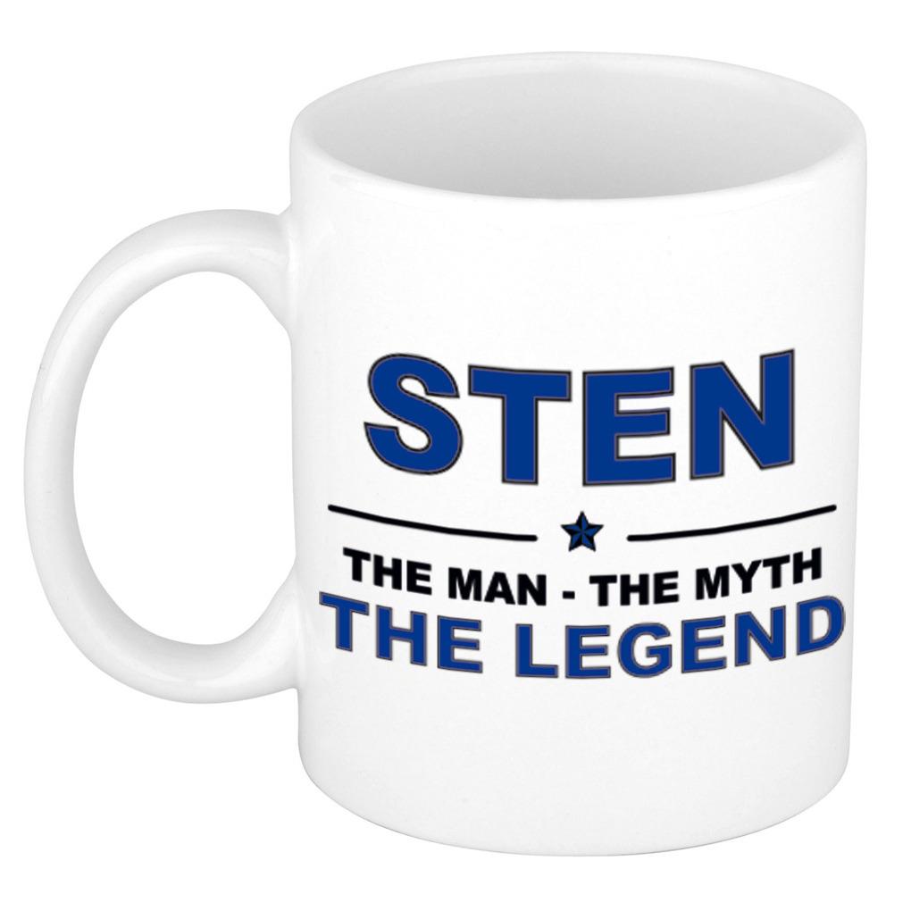 Sten The man, The myth the legend pensioen cadeau mok/beker 300 ml